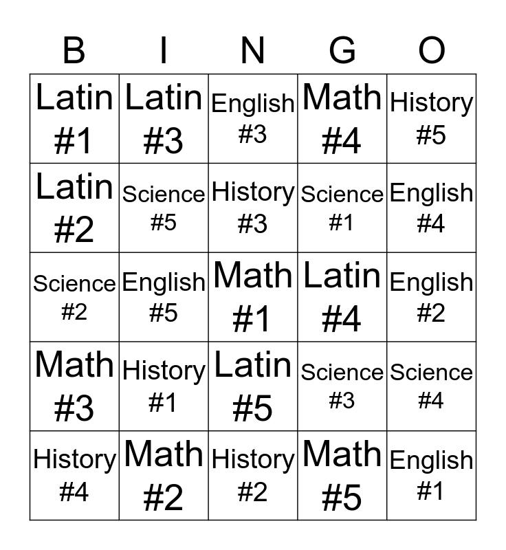 CC Review Bingo Card