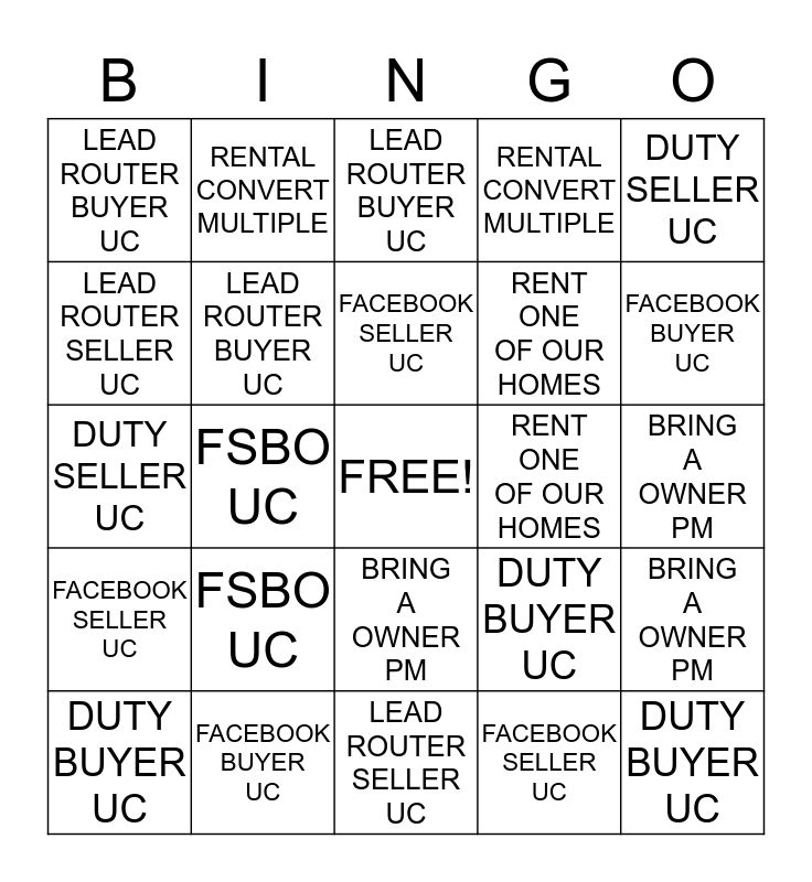 BROKER BINGO Card