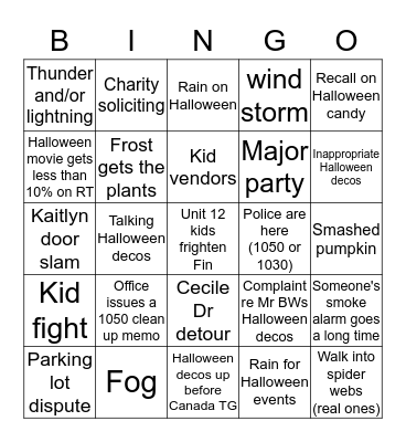 Fall Bingo Card 1 Bingo Card