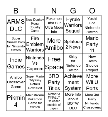Nintendo Direct 9/13 Bingo  Bingo Card
