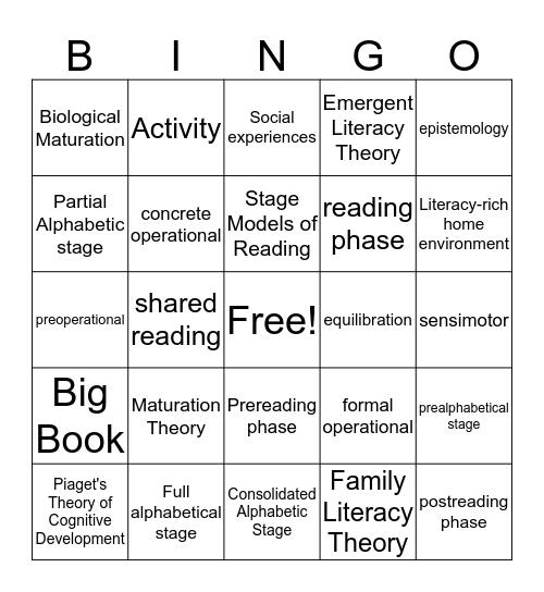 Developmental Bingo Card