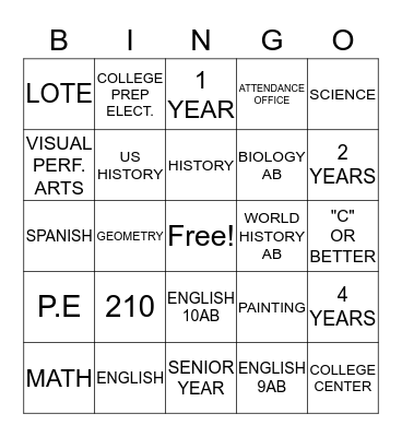 A-G Requirements Bingo Card