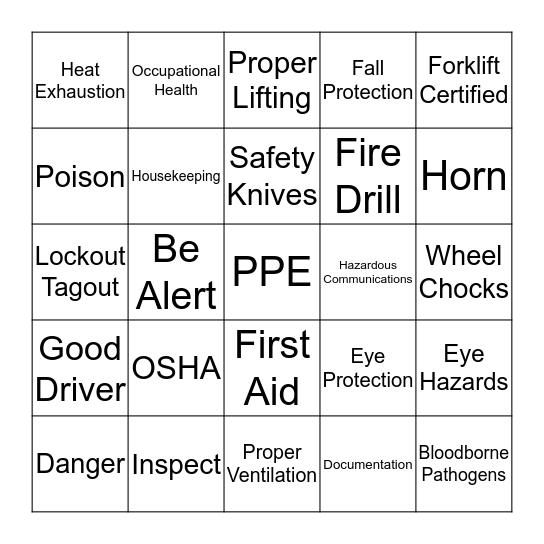Shopko Safety Bingo Card