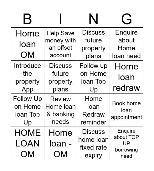 Home loan NBC Bingo Card
