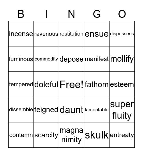 E 3 Literature Vocab Lists 1-3 Bingo Card