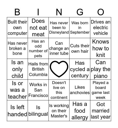 Heather and Andrew's Wedding Bingo Card