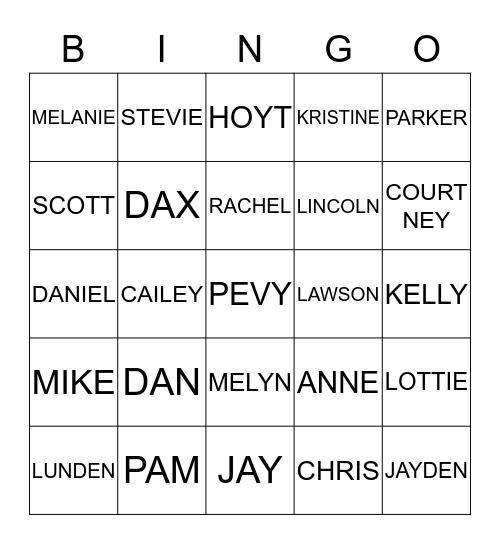 PEVY Family Bingo Card