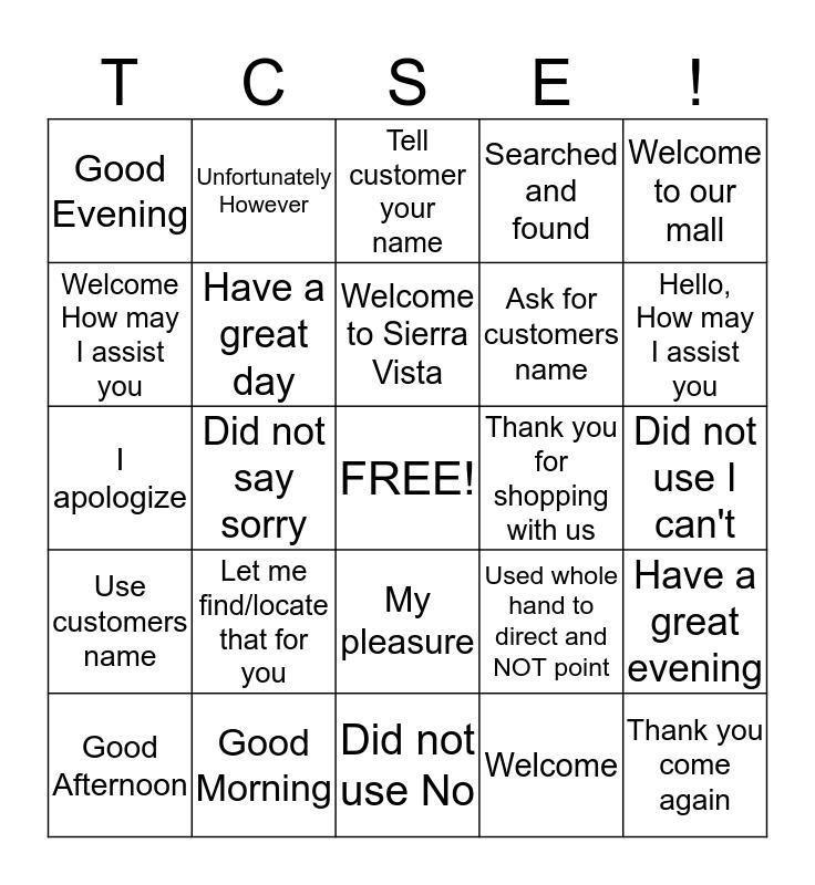 TCSE Bingo Card