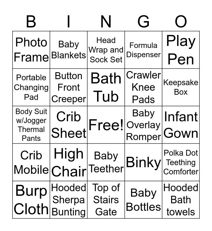 Lisa's Baby Shower Bingo Card