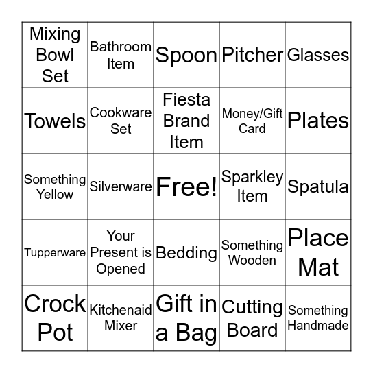 Gift Bingo Card