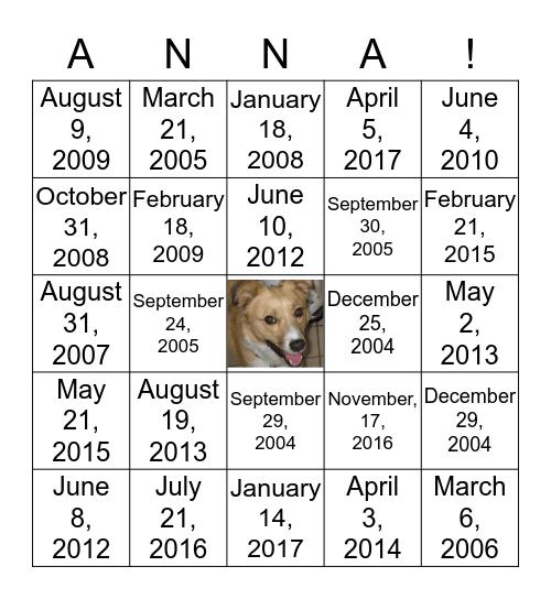Anna Bingo! Bingo Card