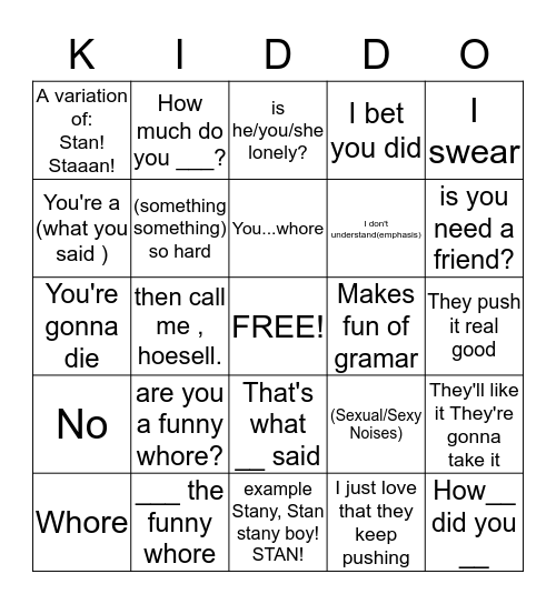 Kiddingo!!! Bingo Card