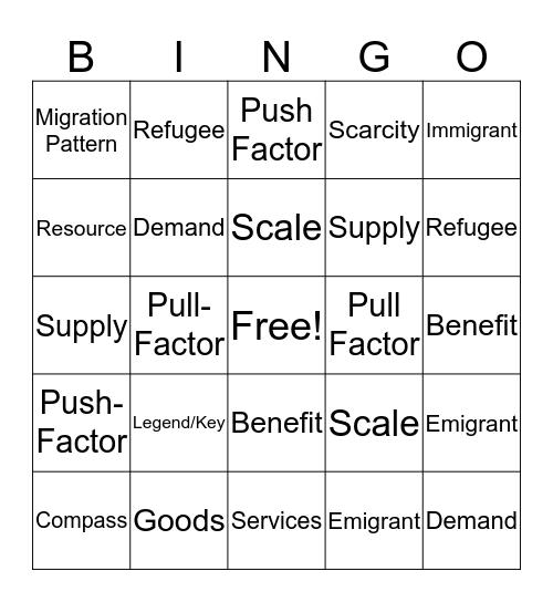 Unit 1 Vocab Bingo Card