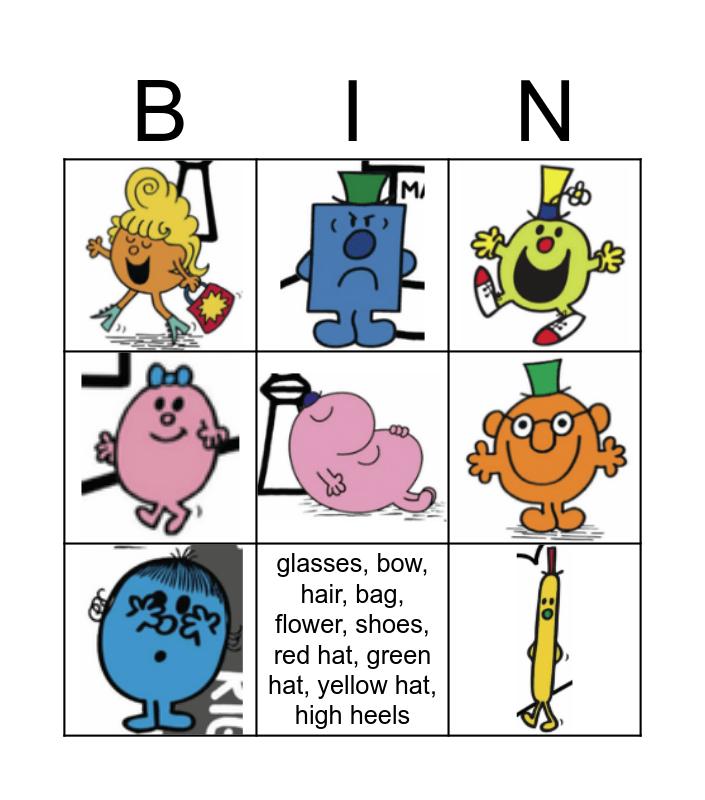 Mr.Men and Little Misses ACCESSORIES Bingo Card