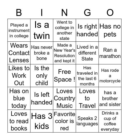 """New Joiners""  Bingo Card"