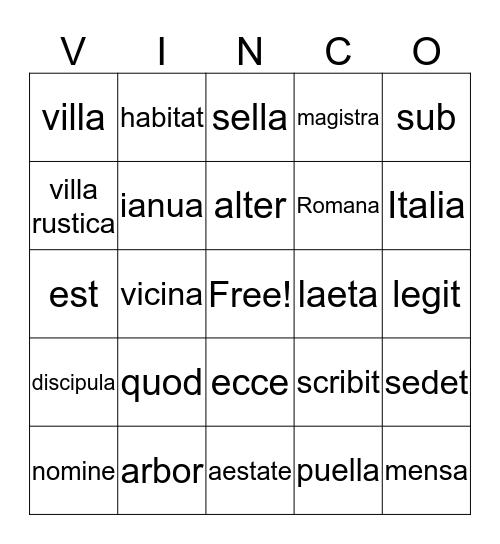 Ecce Romani I Bingo Card