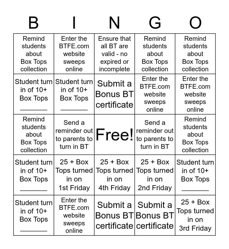 Box Tops Bingo Card
