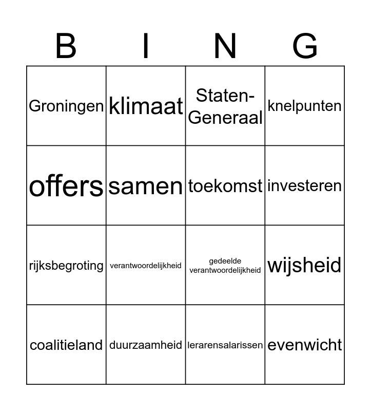 Troonrede Bingo Card