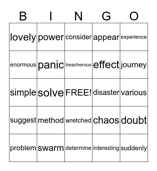Vocab Bingo Card