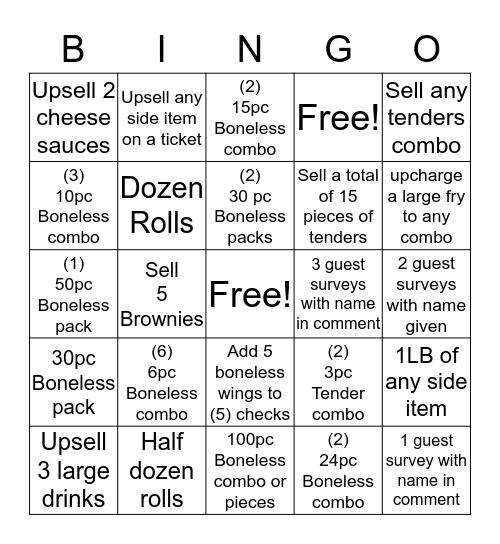 Wingstop Bingo Card