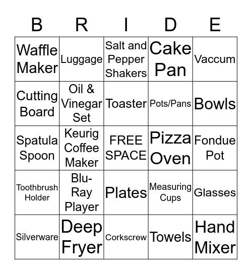 Sara's Shower Bingo Card