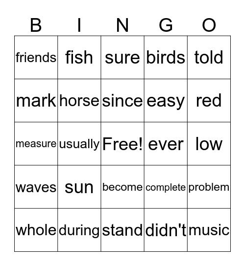 Fry Word Bingo Card