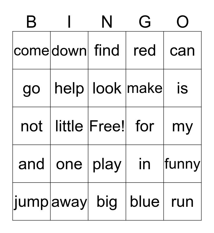 Pre-Primer Bingo Card