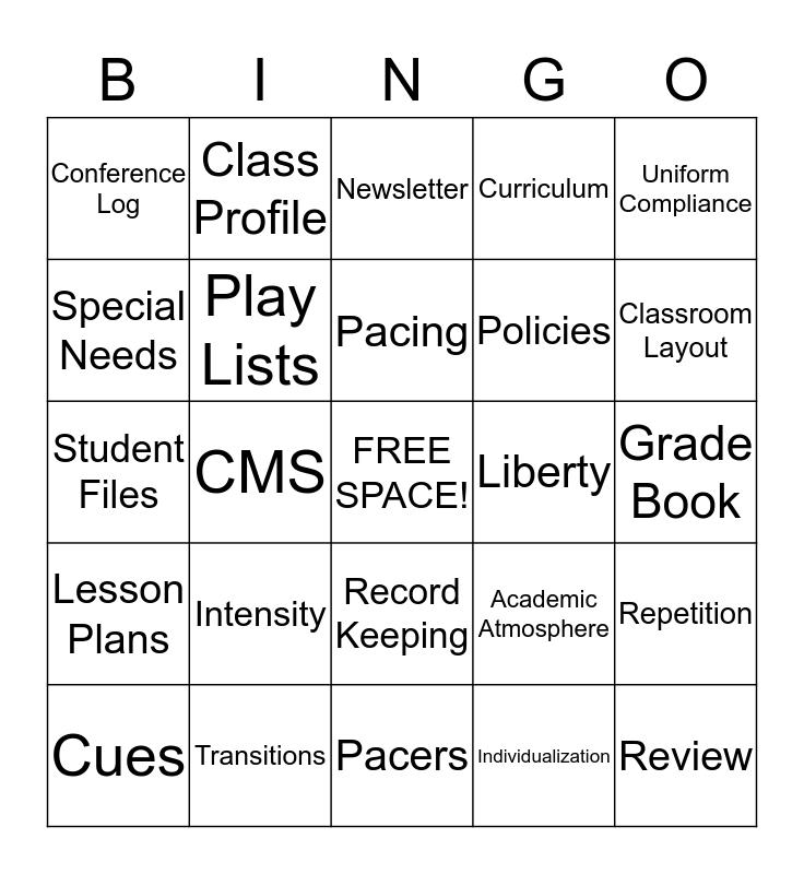 Class Prep Bingo Card
