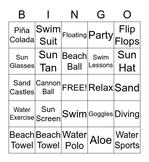 Swim Party Bingo Card