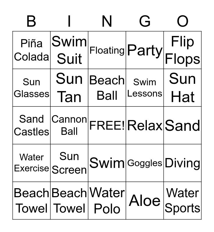 Swim Party Bingo Card