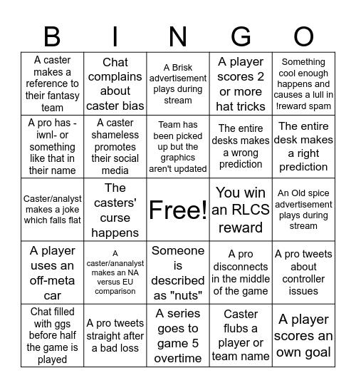 some RL esports ideas Bingo Card