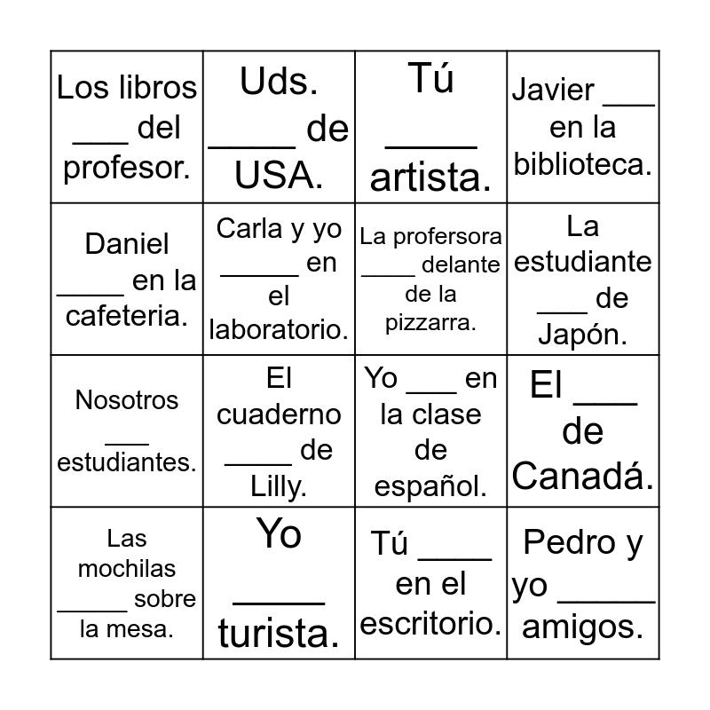 Verbos SER y ESTAR Bingo Card