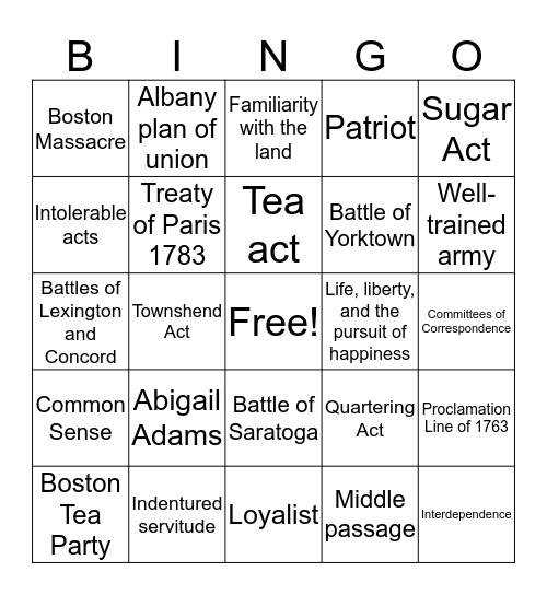 American Revolution  Bingo Card