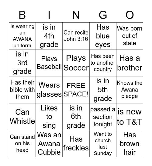 AWANA T&T BINGO Card