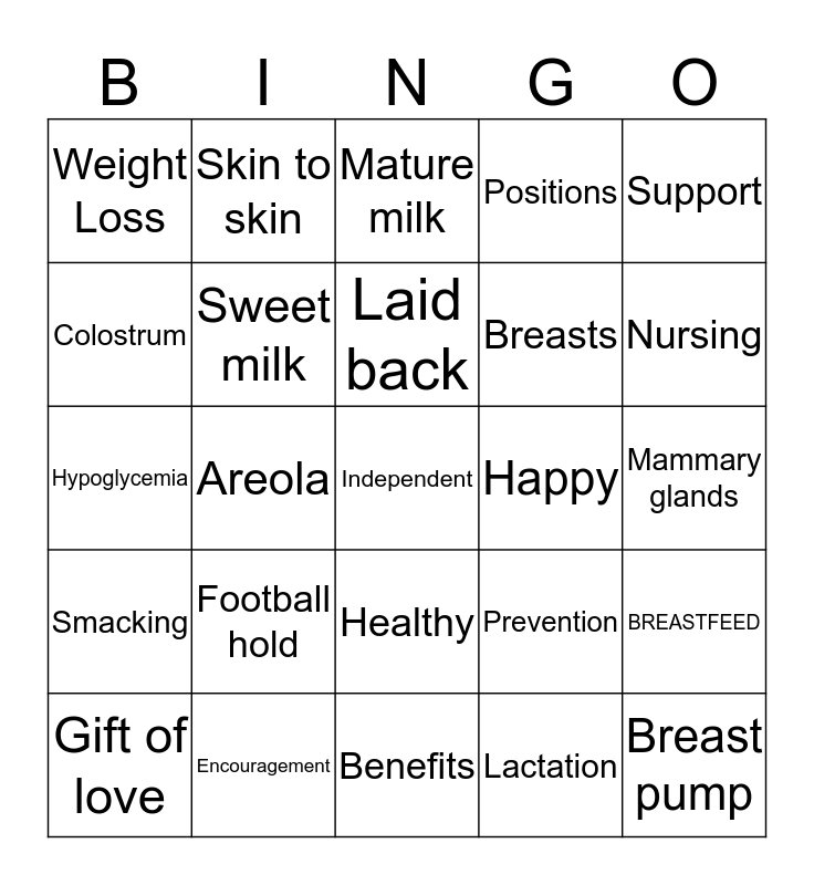 BREASTFEEDING Bingo Card