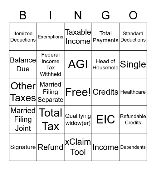 1040X Bingo Card