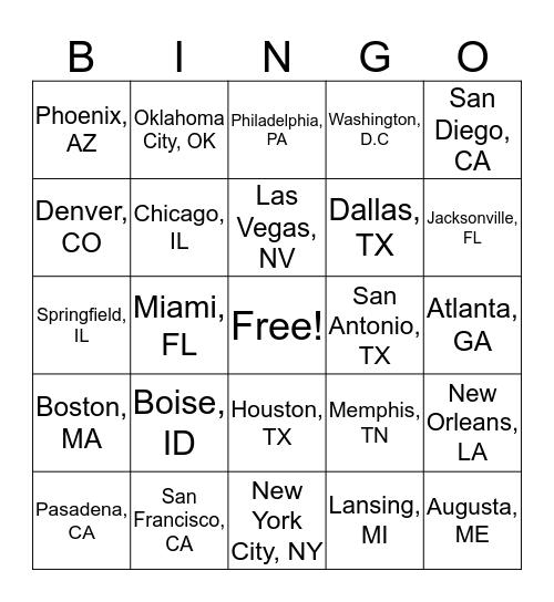 Latitude and Longitude Bingo Card