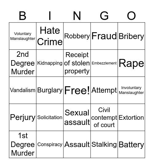 Crime Bingo Card