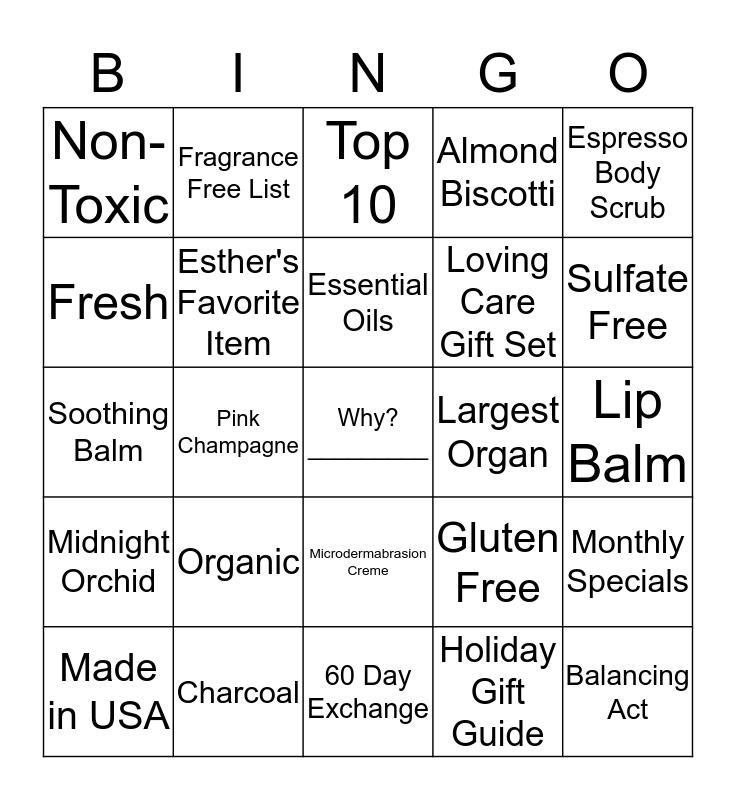 Lemongrass Spa Bingo Card