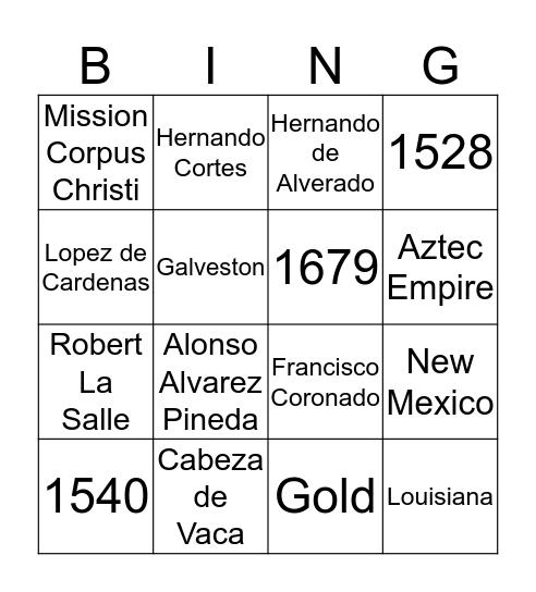 Explorers of Texas Bingo Card