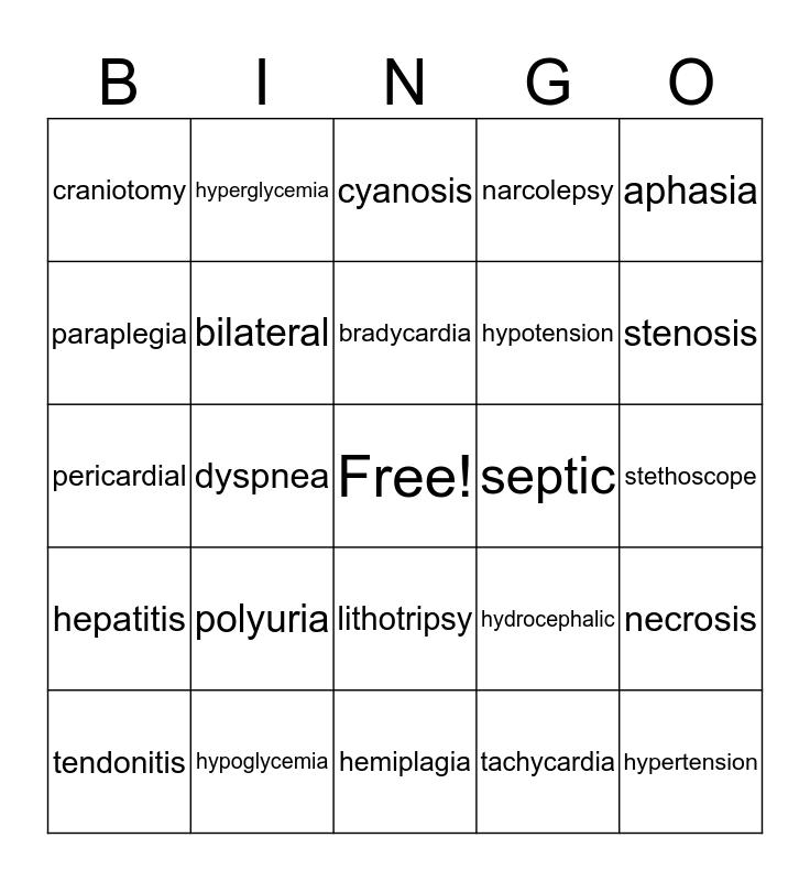 Medical Terminology Bingo Card