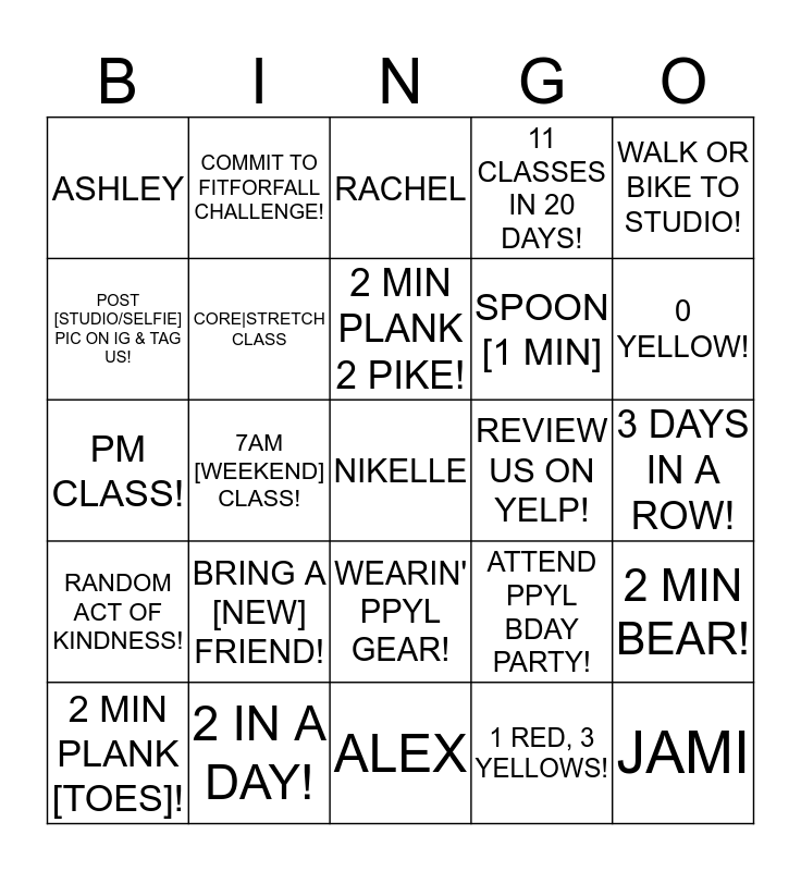 PPYL MEGA BINGO     9/27 - 10/16 Bingo Card