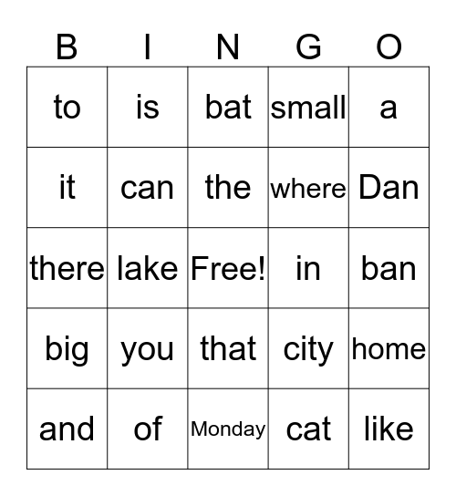 Reading Words Bingo Card