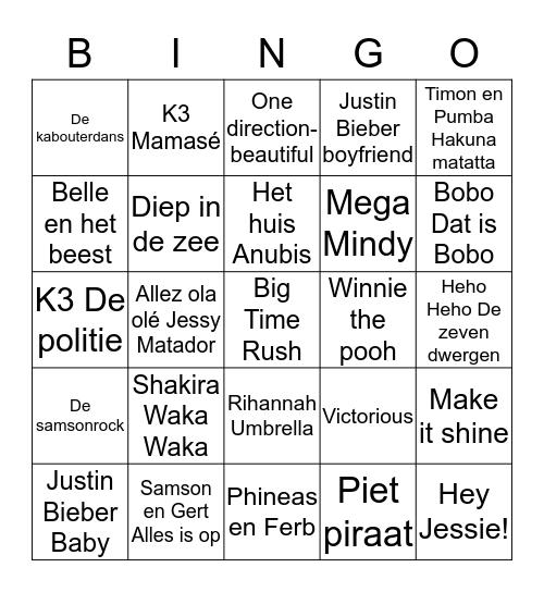 MuziekBINGO!!! Bingo Card
