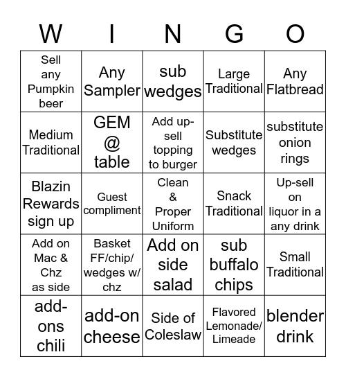 $$ BWW WINGOOOO!!!!!!!!!!!! $$ Bingo Card