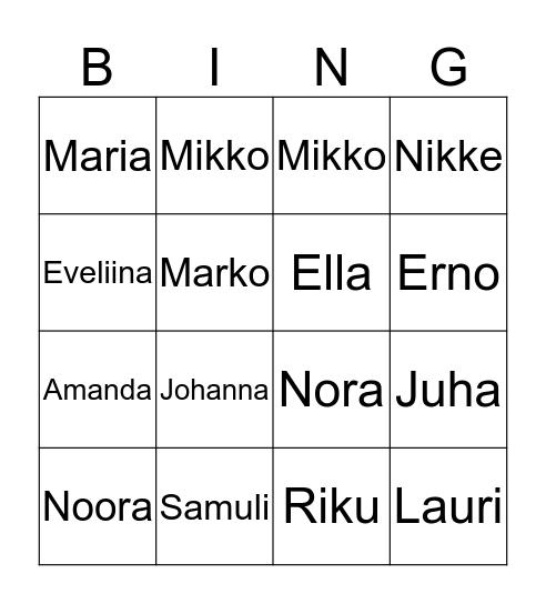 Anurin vieraat Bingo Card
