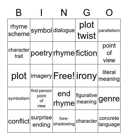 E 8--Literary Terms Unit 1 Bingo Card