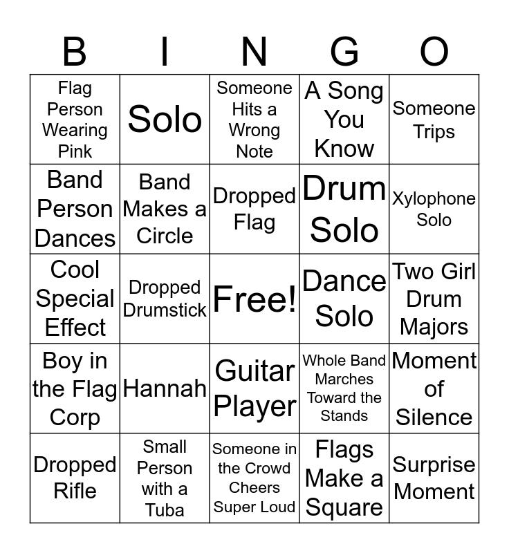 Marching Band Bingo Card