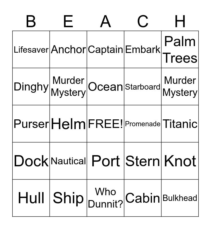 Cruise Bingo Card