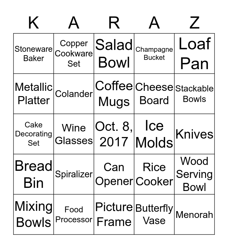 Kara's Bridal Shower Bingo Card